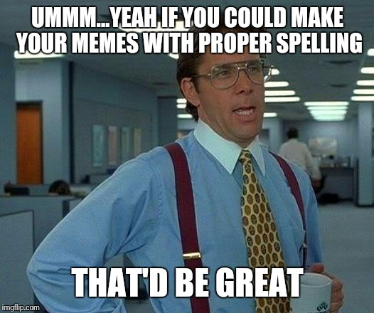 That'd be great | UMMM...YEAH IF YOU COULD MAKE YOUR MEMES WITH PROPER SPELLING THAT'D BE GREAT | image tagged in memes,that would be great | made w/ Imgflip meme maker