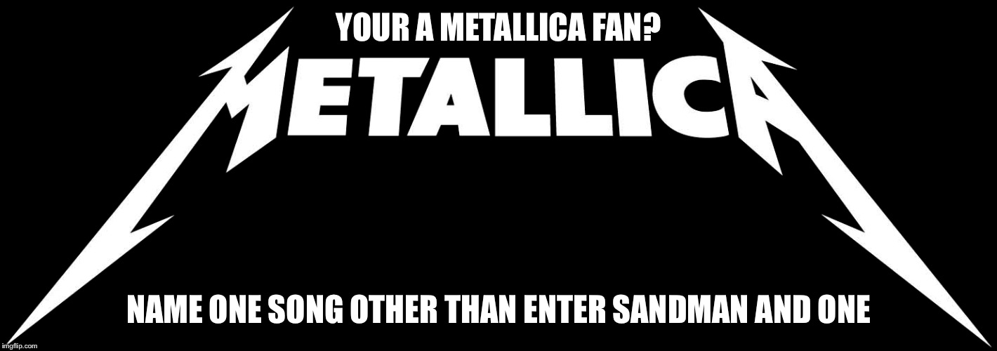 YOUR A METALLICA FAN? NAME ONE SONG OTHER THAN ENTER SANDMAN AND ONE | image tagged in memes,metallica,music | made w/ Imgflip meme maker
