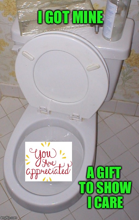 Toilet | I GOT MINE A GIFT TO SHOW I CARE | image tagged in toilet | made w/ Imgflip meme maker