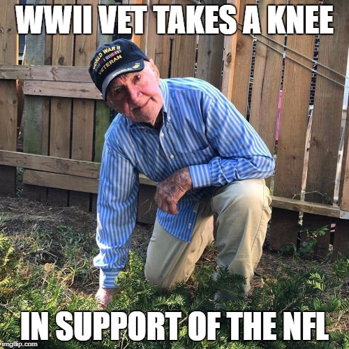 Your argument is invalid | WWII VET TAKES A KNEE IN SUPPORT OF THE NFL | image tagged in nfl,protest,blm | made w/ Imgflip meme maker