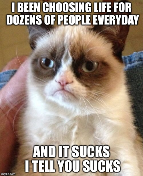 Grumpy Cat Meme | I BEEN CHOOSING LIFE FOR DOZENS OF PEOPLE EVERYDAY AND IT SUCKS I TELL YOU SUCKS | image tagged in memes,grumpy cat | made w/ Imgflip meme maker