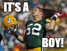 Packer's reveal for baby | IT'S A BOY! | image tagged in clay matthews hair flick,baby boy reveal,packers,nfl,funny memes,clay matthews jr | made w/ Imgflip meme maker
