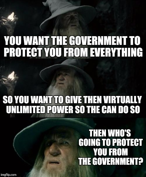 Confused Gandalf Meme | YOU WANT THE GOVERNMENT TO PROTECT YOU FROM EVERYTHING SO YOU WANT TO GIVE THEN VIRTUALLY UNLIMITED POWER SO THE CAN DO SO THEN WHO'S GOING  | image tagged in memes,confused gandalf | made w/ Imgflip meme maker