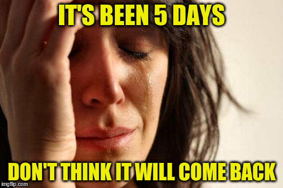 First World Problems Meme | IT'S BEEN 5 DAYS DON'T THINK IT WILL COME BACK | image tagged in memes,first world problems | made w/ Imgflip meme maker