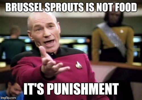 Picard Wtf Meme | BRUSSEL SPROUTS IS NOT FOOD IT'S PUNISHMENT | image tagged in memes,picard wtf | made w/ Imgflip meme maker