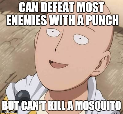 Saitama | CAN DEFEAT MOST ENEMIES WITH A PUNCH BUT CAN'T KILL A MOSQUITO | image tagged in saitama | made w/ Imgflip meme maker
