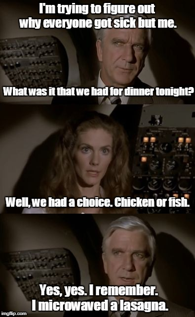 Airplane What Is It? | I'm trying to figure out why everyone got sick but me. Yes, yes. I remember. I microwaved a lasagna. What was it that we had for dinner toni | image tagged in airplane what is it | made w/ Imgflip meme maker