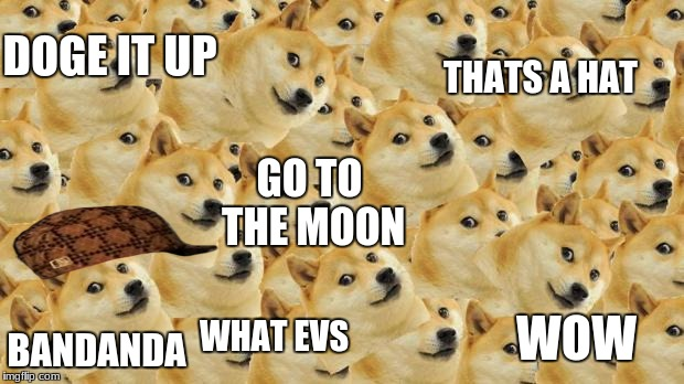 too much doge | DOGE IT UP BANDANDA THATS A HAT GO TO THE MOON WOW WHAT EVS | image tagged in memes,multi doge,scumbag | made w/ Imgflip meme maker