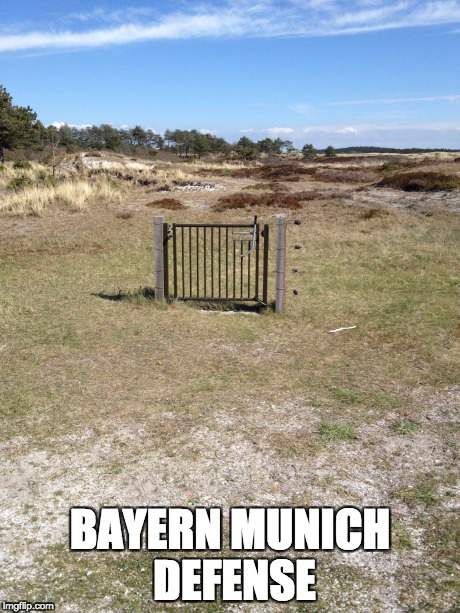 Bayern Munich defense | BAYERN MUNICH DEFENSE | image tagged in useless fence,bayern munich,defense,football,champions league,champions | made w/ Imgflip meme maker