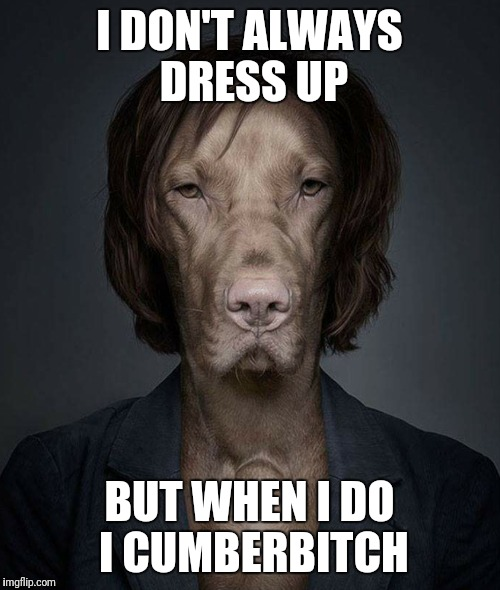 Cumberbitch  | I DON'T ALWAYS DRESS UP BUT WHEN I DO I CUMBERB**CH | image tagged in benedict cumberbatch,dos equis,memes,dog | made w/ Imgflip meme maker