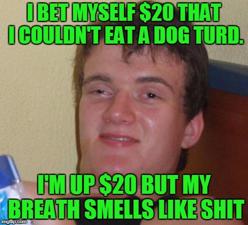 I'm gonna buy some gum with my winnings. | I BET MYSELF $20 THAT I COULDN'T EAT A DOG TURD. I'M UP $20 BUT MY BREATH SMELLS LIKE SHIT | image tagged in memes,10 guy | made w/ Imgflip meme maker