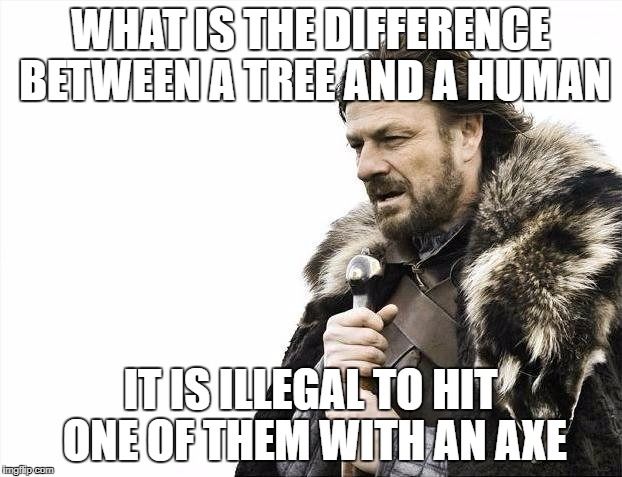 Brace Yourselves X is Coming Meme | WHAT IS THE DIFFERENCE BETWEEN A TREE AND A HUMAN IT IS ILLEGAL TO HIT ONE OF THEM WITH AN AXE | image tagged in memes,brace yourselves x is coming | made w/ Imgflip meme maker