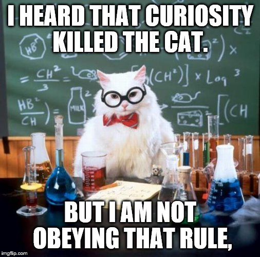 Chemistry Cat Meme | I HEARD THAT CURIOSITY KILLED THE CAT. BUT I AM NOT OBEYING THAT RULE, | image tagged in memes,chemistry cat | made w/ Imgflip meme maker