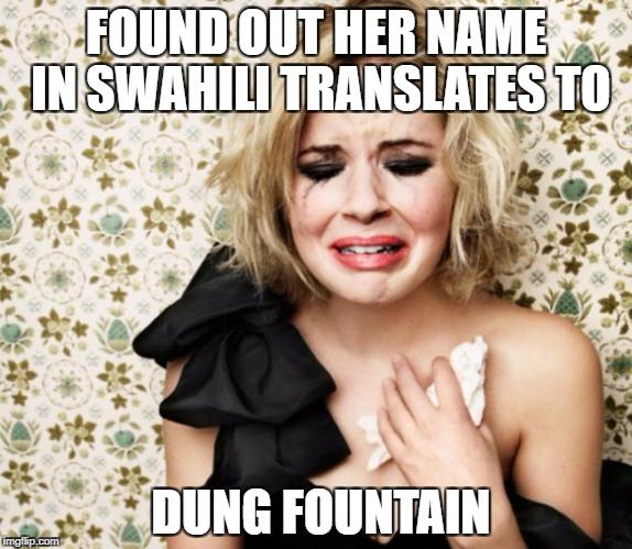 First World Problems Girl | FOUND OUT HER NAME IN SWAHILI TRANSLATES TO DUNG FOUNTAIN | image tagged in first world problems girl | made w/ Imgflip meme maker