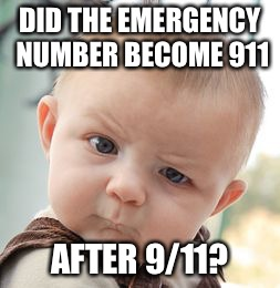 Skeptical Baby Meme | DID THE EMERGENCY NUMBER BECOME 911 AFTER 9/11? | image tagged in memes,skeptical baby | made w/ Imgflip meme maker