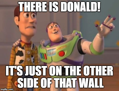 X, X Everywhere Meme | THERE IS DONALD! IT'S JUST ON THE OTHER SIDE OF THAT WALL | image tagged in memes,x x everywhere | made w/ Imgflip meme maker
