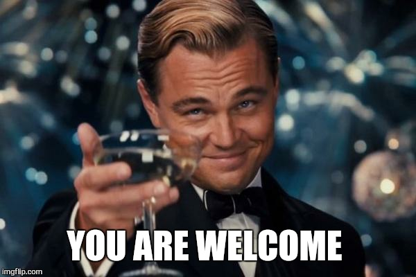 Leonardo Dicaprio Cheers Meme | YOU ARE WELCOME | image tagged in memes,leonardo dicaprio cheers | made w/ Imgflip meme maker