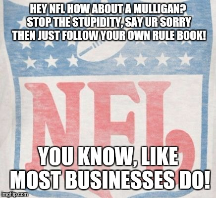 HEY NFL HOW ABOUT A MULLIGAN? STOP THE STUPIDITY, SAY UR SORRY THEN JUST FOLLOW YOUR OWN RULE BOOK! YOU KNOW, LIKE MOST BUSINESSES DO! | image tagged in nfl milligan meme | made w/ Imgflip meme maker