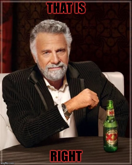 The Most Interesting Man In The World Meme | THAT IS RIGHT | image tagged in memes,the most interesting man in the world | made w/ Imgflip meme maker
