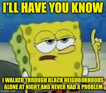 I'LL HAVE YOU KNOW I WALKED THROUGH BLACK NEIGHBORHOODS ALONE AT NIGHT AND NEVER HAD A PROBLEM | made w/ Imgflip meme maker