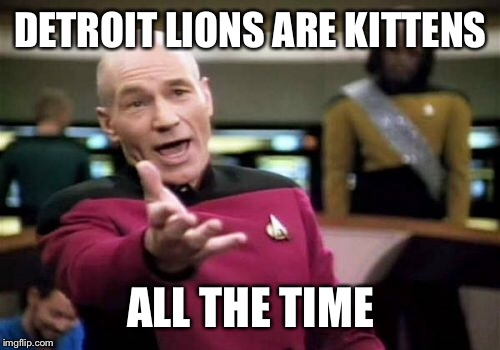Picard Wtf Meme | DETROIT LIONS ARE KITTENS ALL THE TIME | image tagged in memes,picard wtf | made w/ Imgflip meme maker