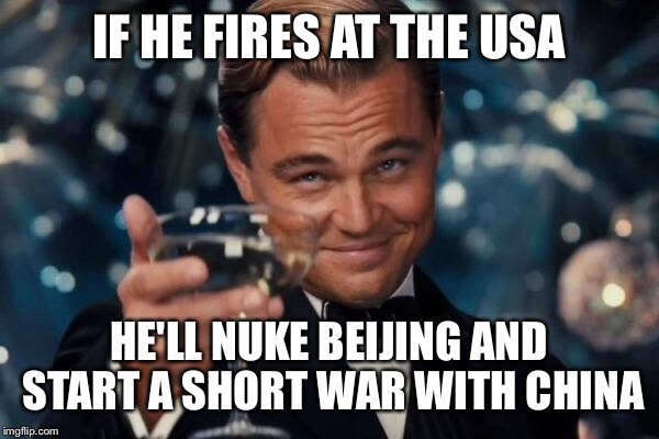 Leonardo Dicaprio Cheers Meme | IF HE FIRES AT THE USA HE'LL NUKE BEIJING AND START A SHORT WAR WITH CHINA | image tagged in memes,leonardo dicaprio cheers | made w/ Imgflip meme maker