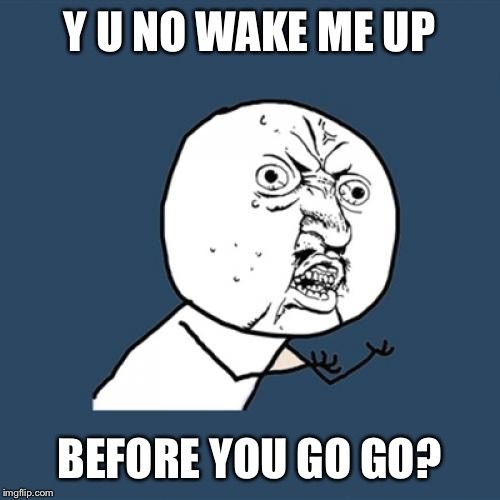 Y U No Meme | Y U NO WAKE ME UP BEFORE YOU GO GO? | image tagged in memes,y u no | made w/ Imgflip meme maker