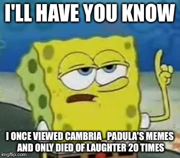 Ill Have You Know Spongebob Meme | I'LL HAVE YOU KNOW I ONCE VIEWED CAMBRIA_PADULA'S MEMES AND ONLY DIED OF LAUGHTER 20 TIMES | image tagged in memes,ill have you know spongebob | made w/ Imgflip meme maker