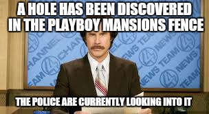 A HOLE HAS BEEN DISCOVERED IN THE PLAYBOY MANSIONS FENCE THE POLICE ARE CURRENTLY LOOKING INTO IT | made w/ Imgflip meme maker