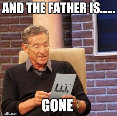 Maury Lie Detector Meme | AND THE FATHER IS...... GONE | image tagged in memes,maury lie detector | made w/ Imgflip meme maker