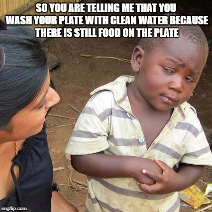 Third World Skeptical Kid Meme | SO YOU ARE TELLING ME THAT YOU WASH YOUR PLATE WITH CLEAN WATER BECAUSE THERE IS STILL FOOD ON THE PLATE | image tagged in memes,third world skeptical kid | made w/ Imgflip meme maker
