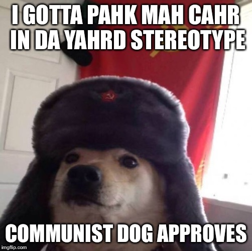 Communist Dog Massachusetts Edition | I GOTTA PAHK MAH CAHR IN DA YAHRD STEREOTYPE COMMUNIST DOG APPROVES | image tagged in communist dog,dog,dom,darkness,mass,jd | made w/ Imgflip meme maker