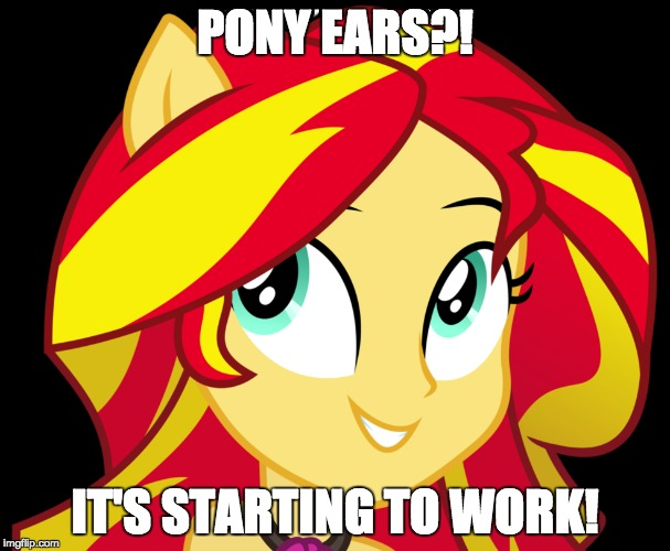Something more is happening than just the action! | PONY EARS?! IT'S STARTING TO WORK! | image tagged in memes,sunset shimmer,ponies,secret power,something more | made w/ Imgflip meme maker