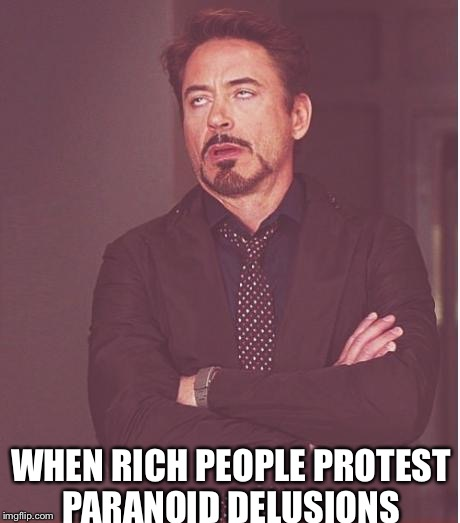 Face You Make Robert Downey Jr Meme | WHEN RICH PEOPLE PROTEST PARANOID DELUSIONS | image tagged in memes,face you make robert downey jr | made w/ Imgflip meme maker