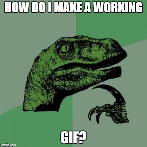 I tried but It didn't work... | HOW DO I MAKE A WORKING GIF? | image tagged in memes,philosoraptor | made w/ Imgflip meme maker