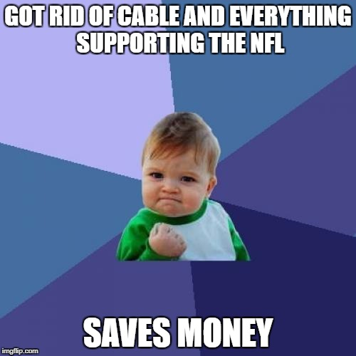 Success Kid Meme | GOT RID OF CABLE AND EVERYTHING SUPPORTING THE NFL SAVES MONEY | image tagged in memes,success kid | made w/ Imgflip meme maker