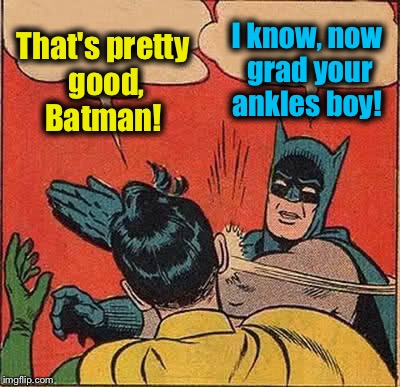 Batman Slapping Robin Meme | That's pretty good, Batman! I know, now grad your ankles boy! | image tagged in memes,batman slapping robin | made w/ Imgflip meme maker