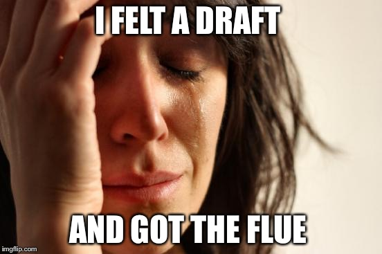 First World Problems Meme | I FELT A DRAFT AND GOT THE FLUE | image tagged in memes,first world problems | made w/ Imgflip meme maker