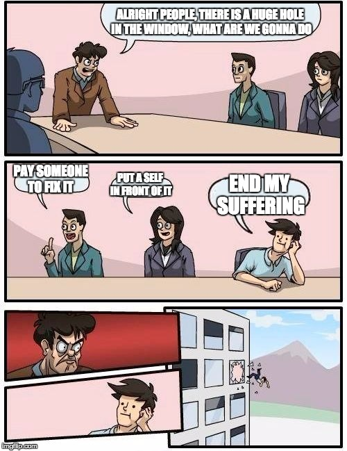 Boardroom Meeting Suggestion Meme | ALRIGHT PEOPLE, THERE IS A HUGE HOLE IN THE WINDOW, WHAT ARE WE GONNA DO PAY SOMEONE TO FIX IT PUT A SELF IN FRONT OF IT END MY SUFFERING | image tagged in memes,boardroom meeting suggestion | made w/ Imgflip meme maker