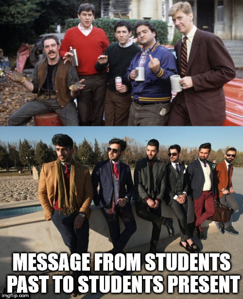 MESSAGE FROM STUDENTS PAST TO STUDENTS PRESENT | image tagged in snowflakes | made w/ Imgflip meme maker