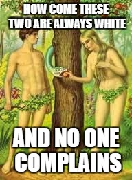 Adam and Eve | HOW COME THESE TWO ARE ALWAYS WHITE AND NO ONE COMPLAINS | image tagged in adam and eve | made w/ Imgflip meme maker