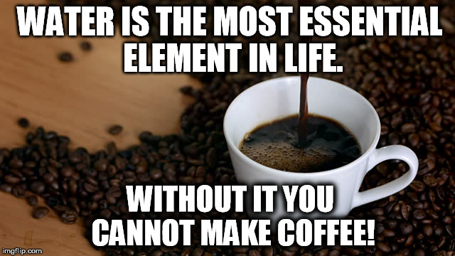 WATER IS THE MOST ESSENTIAL ELEMENT IN LIFE. WITHOUT IT YOU CANNOT MAKE COFFEE! | image tagged in national coffee day | made w/ Imgflip meme maker