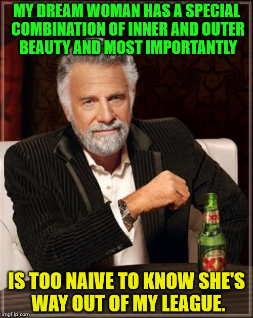 Dream woman ideaologies | MY DREAM WOMAN HAS A SPECIAL COMBINATION OF INNER AND OUTER BEAUTY AND MOST IMPORTANTLY IS TOO NAIVE TO KNOW SHE'S WAY OUT OF MY LEAGUE. | image tagged in memes,the most interesting man in the world,woman,naive,way out of my league | made w/ Imgflip meme maker