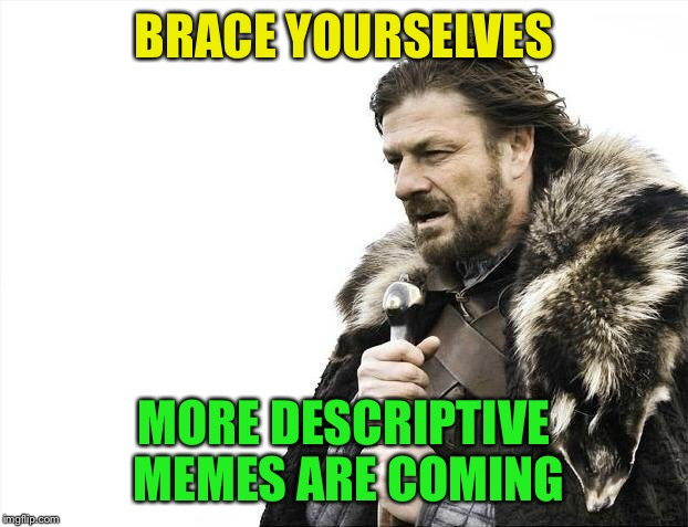 Brace Yourselves X is Coming Meme | BRACE YOURSELVES MORE DESCRIPTIVE MEMES ARE COMING | image tagged in memes,brace yourselves x is coming | made w/ Imgflip meme maker