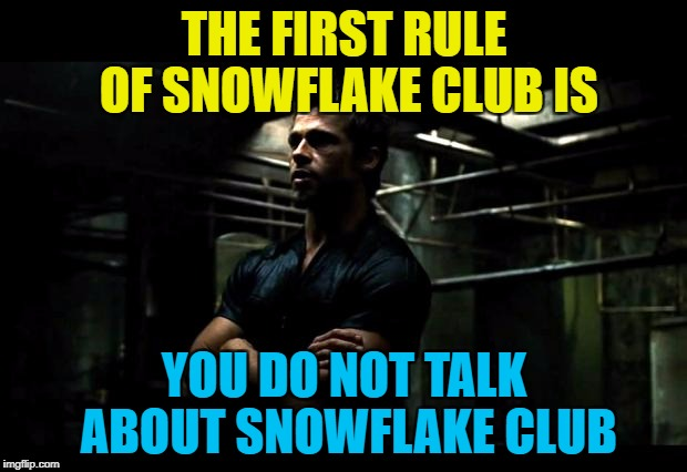 THE FIRST RULE OF SNOWFLAKE CLUB IS YOU DO NOT TALK ABOUT SNOWFLAKE CLUB | made w/ Imgflip meme maker