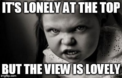 IT'S LONELY AT THE TOP BUT THE VIEW IS LOVELY | image tagged in alice malice | made w/ Imgflip meme maker