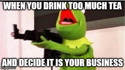 kermit with an ak47 | WHEN YOU DRINK TOO MUCH TEA AND DECIDE IT IS YOUR BUSINESS | image tagged in kermit with an ak47 | made w/ Imgflip meme maker
