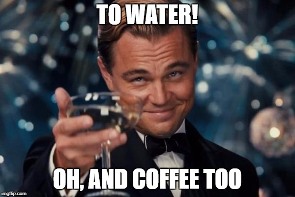 Leonardo Dicaprio Cheers Meme | TO WATER! OH, AND COFFEE TOO | image tagged in memes,leonardo dicaprio cheers | made w/ Imgflip meme maker