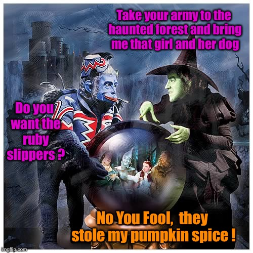 Wicked Witch & Pumpkin Spice | Take your army to the haunted forest and bring me that girl and her dog No You Fool,  they stole my pumpkin spice ! Do you want the ruby sli | image tagged in pumpkin spice,wicked witch of the west,funny memes,fall,first world problems,memes | made w/ Imgflip meme maker