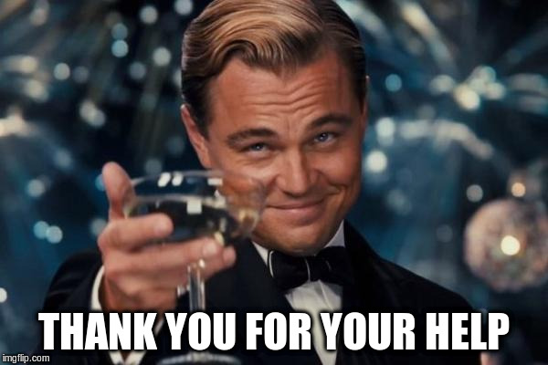 Leonardo Dicaprio Cheers Meme | THANK YOU FOR YOUR HELP | image tagged in memes,leonardo dicaprio cheers | made w/ Imgflip meme maker